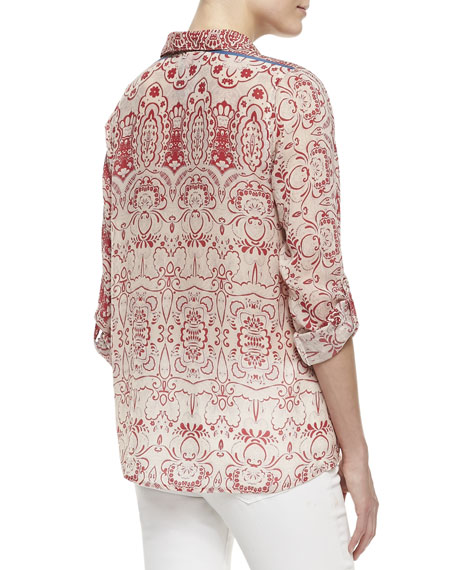 Printed-Georgette Button-Front Blouse, Women's