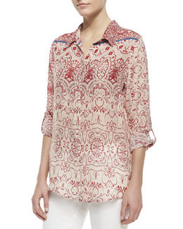 Johnny Was Collection Printed-Georgette Button-Front Blouse, Women's