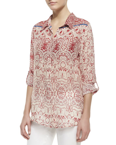 Johnny Was Collection Printed-Georgette Button-Front Blouse