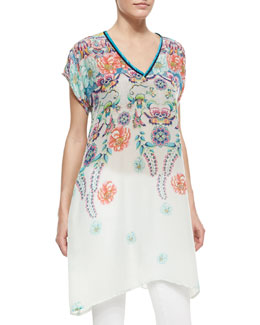 Johnny Was Collection Dasha Floral-Print Georgette Tunic
