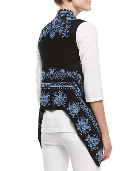 Linen Embroidered Long Vest, Women's