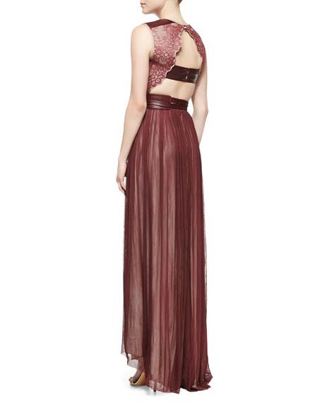 Mira Combo Lace Chiffon Gown