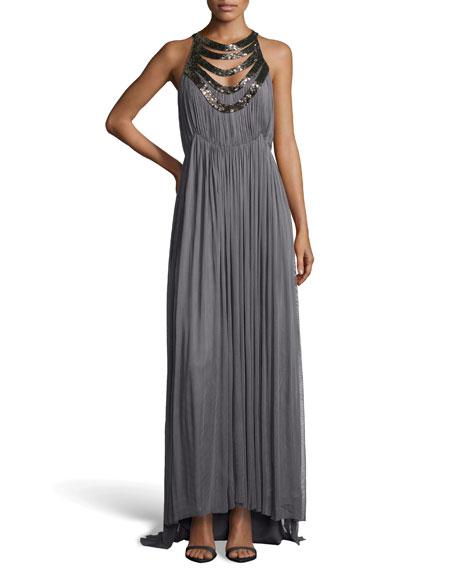 Mirage Mesh Silk Evening Gown, Pewter