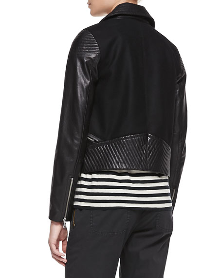 Karlie Leather/Crepe Moto Jacket