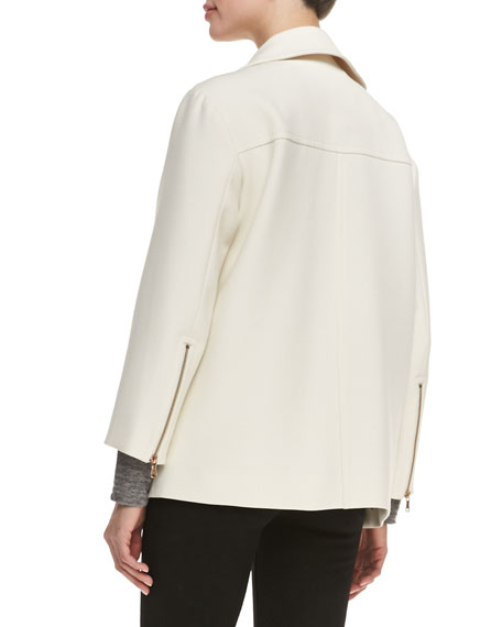 Eva Crepe Asymmetric Zip Jacket