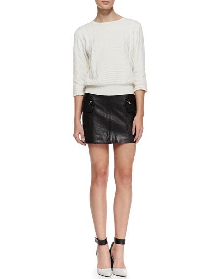 Karlie Side-Pocket Leather Miniskirt