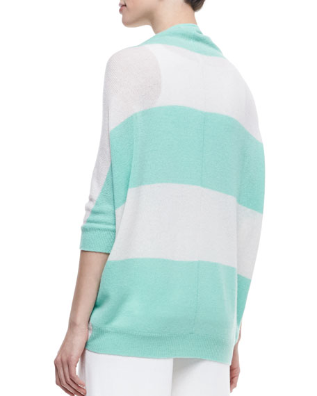 3/4 Sleeve Striped Tie-Front Sweater