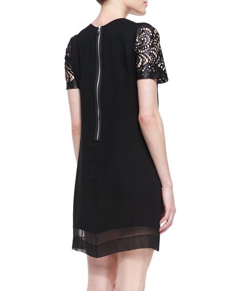 Silk & Lace-Illusion Overlay Dress