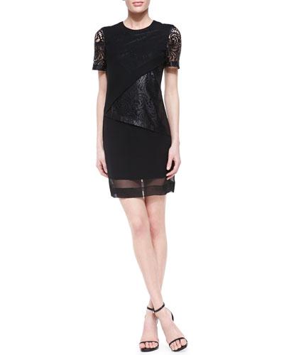Robert Rodriguez Silk & Lace-Illusion Overlay Dress