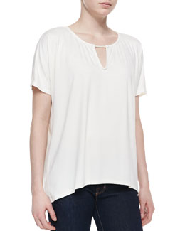 Three Dots High-Low Top with Piping