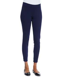 Three Dots Stretch-Jersey Seamed Leggings