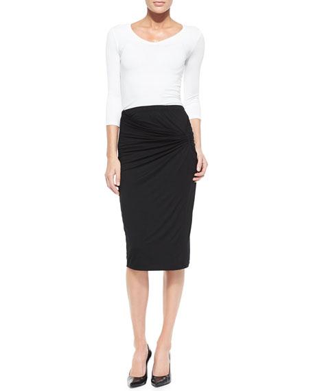 Twist-Front Jersey Skirt