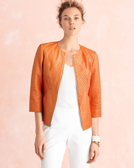 Ribbed Leather Jacket, Orange