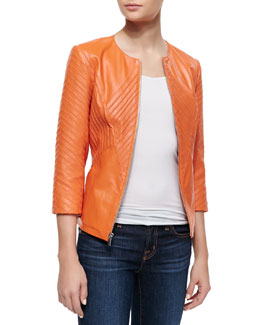 Neiman Marcus Ribbed Leather Jacket, Orange