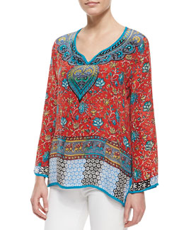 Tolani Mia Silk Border-Print Tunic, Women's