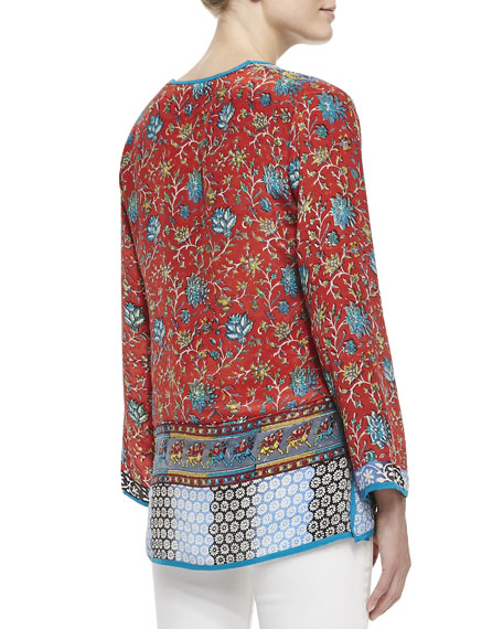 Mia Silk Border-Print Tunic