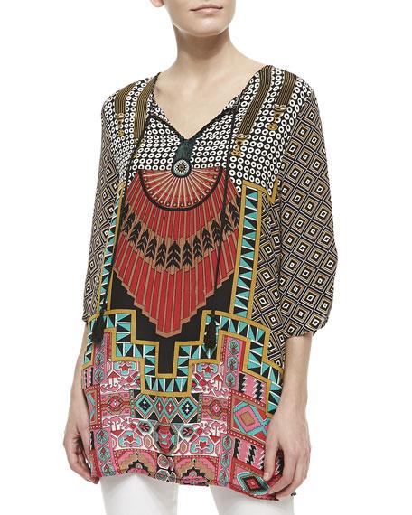 Bonnie Silk Geometric-Print Tunic