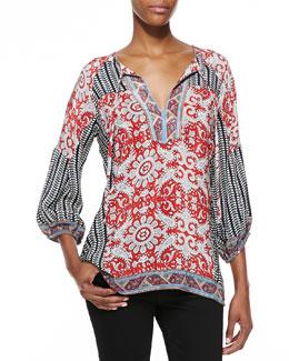Tolani Trisha Printed 3/4-Sleeve Tunic