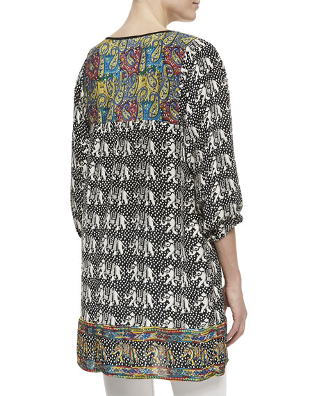 London Silk Elephant-Print Long Tunic, Women's