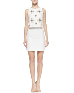 Tibi Sleeveless Beaded Cluster Pop Top Dress, Ivory/Multicolor