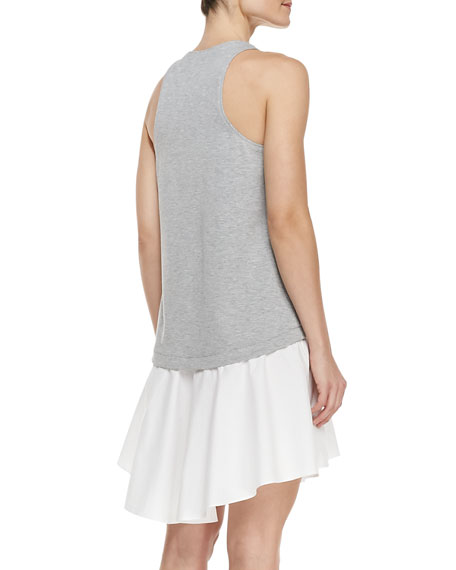 Sleeveless Contrast-Bodice High-Low Dress, Heather Gray/White