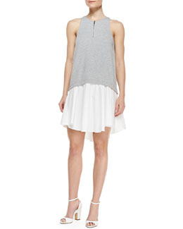 Tibi Sleeveless Contrast-Bodice High-Low Dress, Heather Gray/White