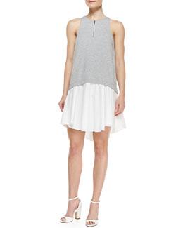 Tibi Sleeveless Contrast-Bodice High-Low Dress, Heather Gray/White