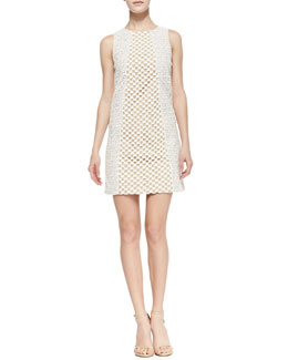 Tibi Sonoran Sleeveless Eyelet Shift Dress, Ivory