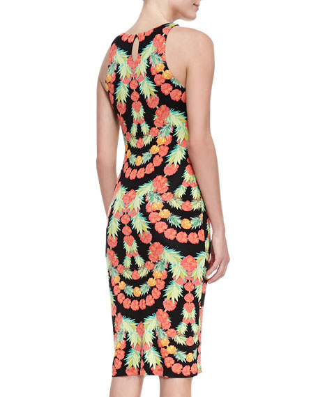 Garlands Print Sleeveless Sheath Dress