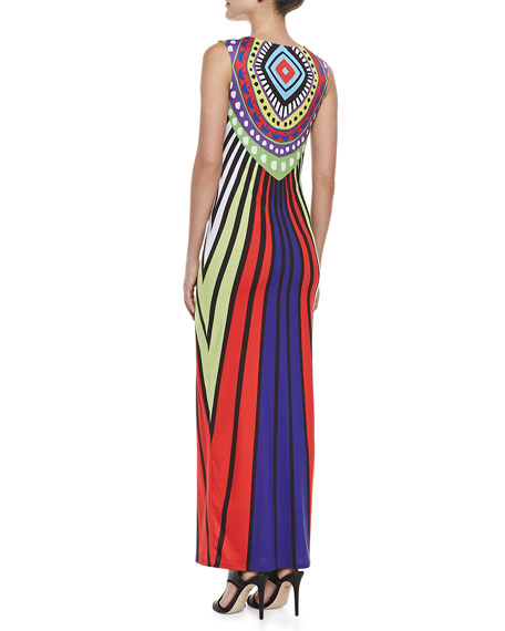 Rays Violet Mixed-Print Jersey Maxi Dress