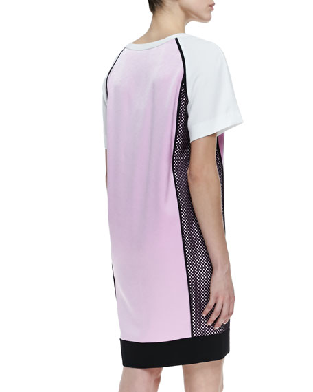 Short Sleeve Colorblock Dress with Side Mesh, Cosmos Pink/White/Black