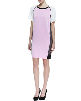 DKNY Short Sleeve Colorblock Dress with Side Mesh, Cosmos Pink/White/Black