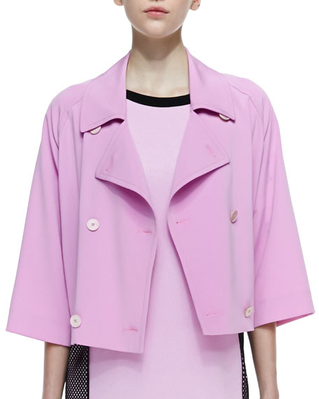 Cropped Double-Breasted Boxy Trench Coat, Cosmos Pink