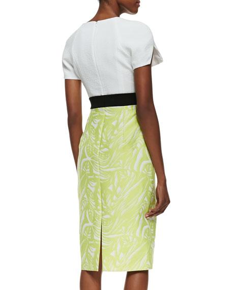 Makenna CB Mixed-Media Sheath Dress