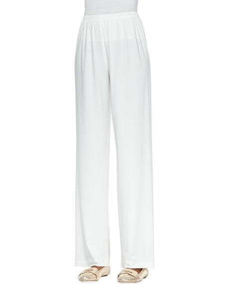 Straight-Leg Knit Pants, White