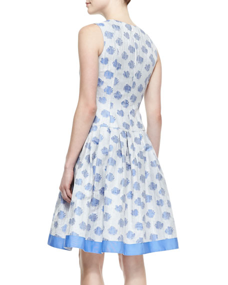Sleeveless Abstract Floral-Print Cocktail Dress, White/Light Blue