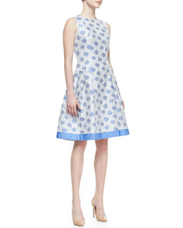 Carmen Marc Valvo Sleeveless Abstract Floral-Print Cocktail Dress, White/Light Blue