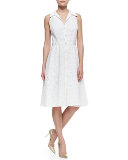 Carmen Marc Valvo Sleeveless Eyelet Button-Front Cocktail Shirtdress