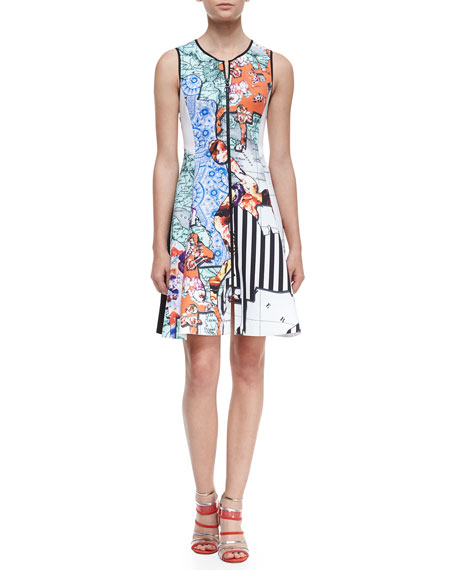 Floral Silhouettes Sleeveless Dress