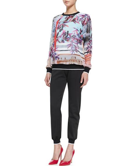 Knit Contrast-Trim Pants