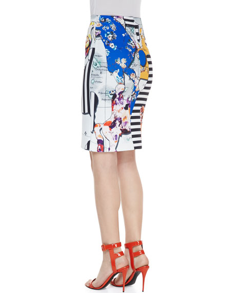 Floral Silhouettes Jersey Pencil Skirt