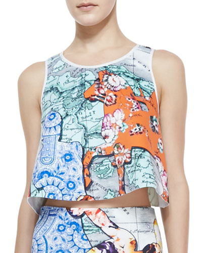 Clover Canyon Floral Silhouettes Jersey Cropped Top