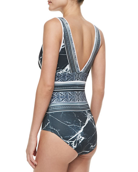 Etched Marble Zip One-Piece Swimsuit
