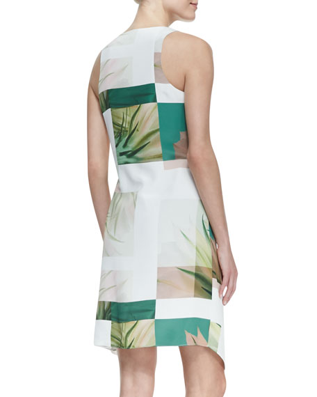 Sleeveless Fiore Di Cactus Dress with Sarong Skirt, White/Green/Taupe