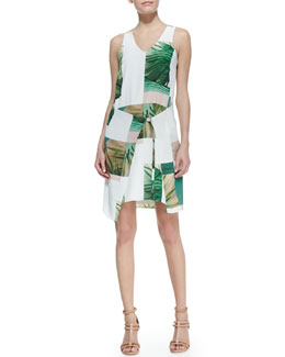 Tibi Sleeveless Fiore Di Cactus Dress with Sarong Skirt, White/Green/Taupe