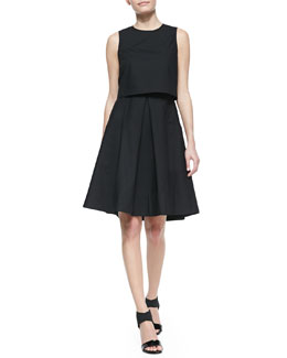 Tibi Sleeveless Ultra Matte Pop Top Dress