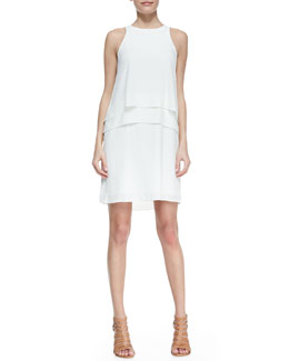 Tibi Sleeveless Two-Tier Middle Dress, Ivory