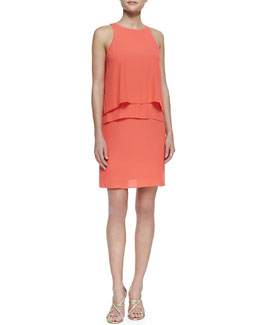 Tibi Halter-Neck Two-Tier Ruffle Dress, Grenadine