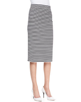 Tibi Racetrack Striped Pencil Skirt
