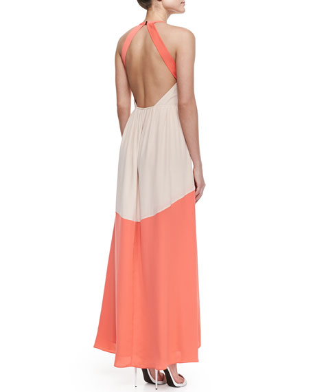 Matte Colorblock Long Dress